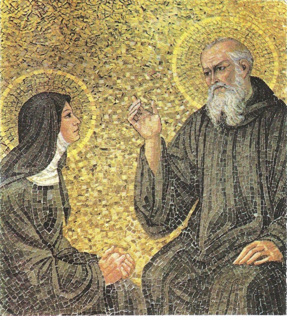 San Benito y Santa Escolastica, mosaico de autor desconocido